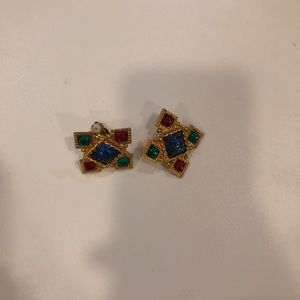 Gerard Yosca gold earrings with stones